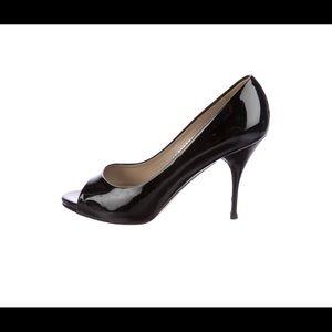 Valentino Peep-Toe Patent Leather Heels